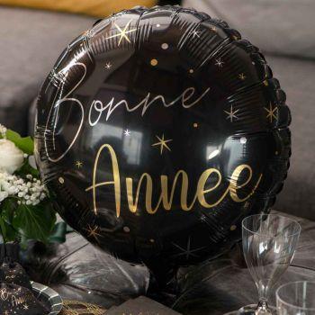 Luftballon alu Frohes Neues Jahr schwarz gold