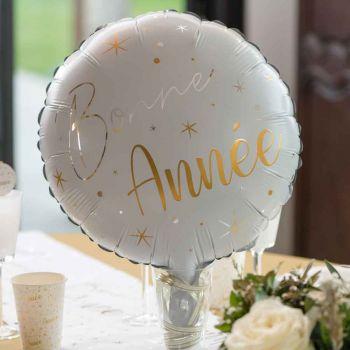 Luftballon alu Frohes Neues Jahr Weißgold