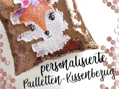 Personalisierte pailletten- kissenbezug